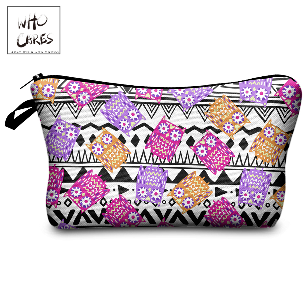 Who Cares Makeup Bags Women Cosmetic Bag Azte Owl Printing Oiletry Bag Cosmetics Pouchs For Travel Make Up Bag