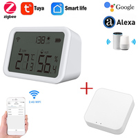 Zigbee WiFi Temperatur Und Feuchtigkeit Sensor Innen Hygrometer Thermometer Mit LCD Display Unterstützung SmartLife Alexa Google Hause