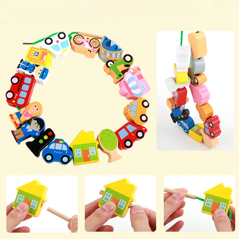 Wooden Toys Baby City Threading Beads String Lacing Puzzle Early Learning Educational Crafts Toys For Toddler Children DIY Toys