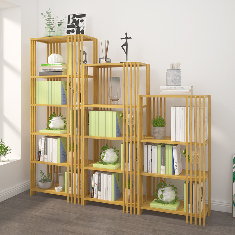 Simple Bookcase Floor Cabinet Moso Bamboo Storage Shelf Student Household Bookcase Province Space Multi-functional Storage Cabin