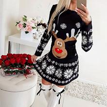 Słodki słodki nadruk łosia kobiety sukienka 2020 nowa sukienka na przyjęcie bożonarodzeniowe Casual z długim rękawem luźne sukienki A-Line kobieta Vestidos #10 tanie tanio CHAMSGEND CN (pochodzenie) Jesień COTTON Poliester Osób w wieku 18-35 lat Women dress O-neck Pełna REGULAR NONE Na co dzień