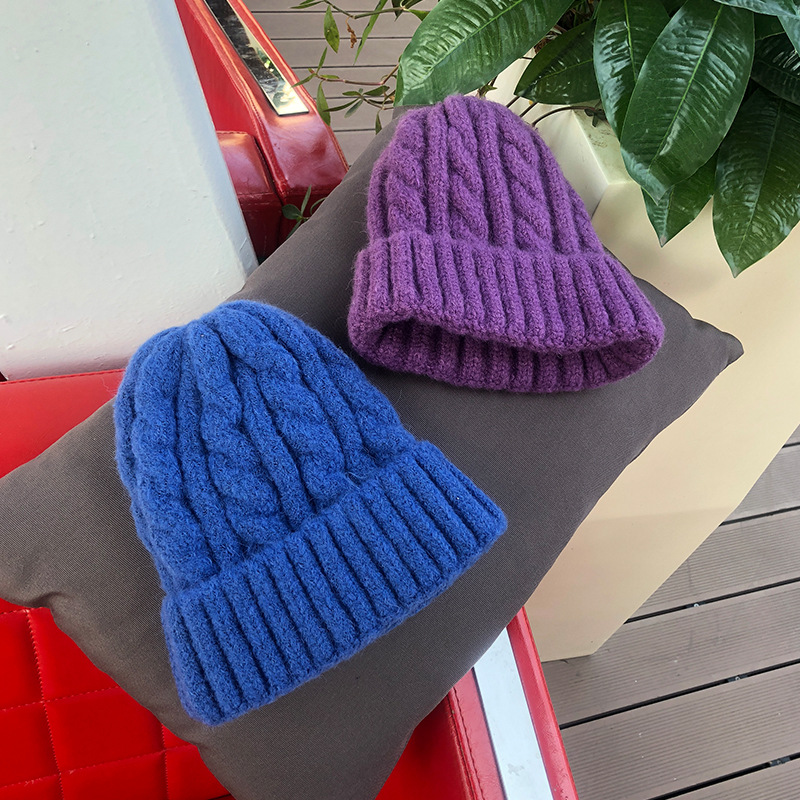 Women Beanies Girl Luxury winter hat Candy Colors Hats Thick Warm Bonnet Beanie Soft Knitted Beanies Cotton Twist Pattern Caps 9 1