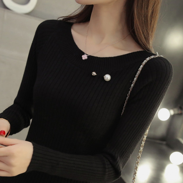Ailegogo Women Sweater 2019 Female Basic Slim Fit O-neck Warm Beaded Ladies Knitted Sweaters Pull Jumpers Autumn Spring Tops 4