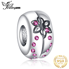 JewelryPalace 925 Sterling Silver Created Ruby Multicolor Flower Charm Beads Fit Bracelets New Hot Sale For Women As Fine Gifts