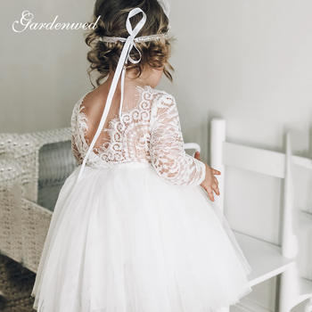 Cute Ivory Lace Flower Girl Dresses O-Neck Long Sleeves First Communion Dresses Illusion Back Short Tulle Baby Girl Party Dress 2017 new flower girl dresses long sleeves o neck back sheer tulle ball gown kids prom evening party communion dresses vestidos