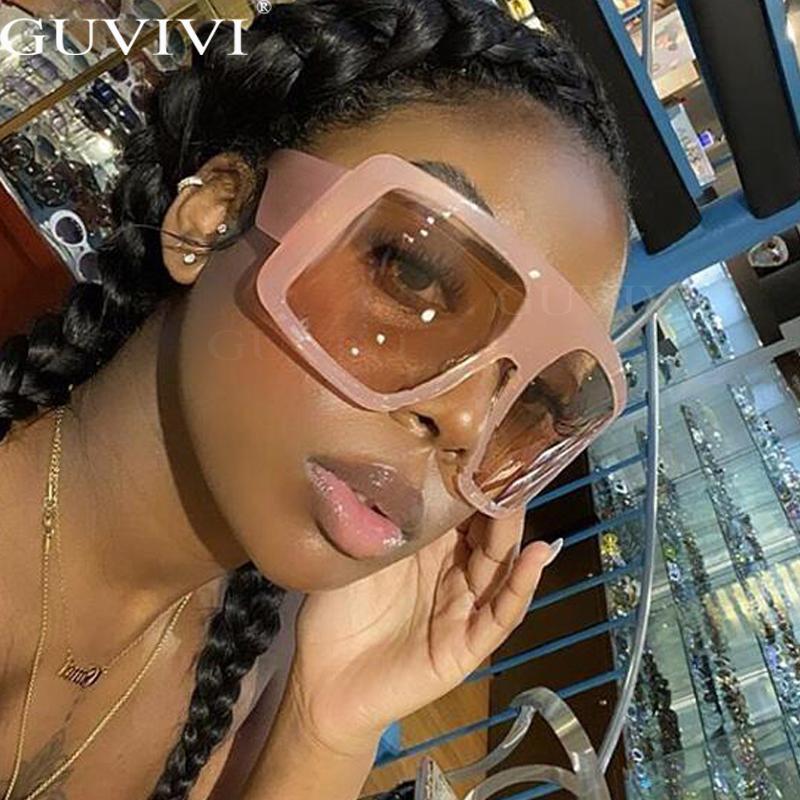 One Piece Shield Square Sunglasses For Women Vintage Oversized Black Pink Sun Glasses Eyewear Female Cool Black Blue Shades