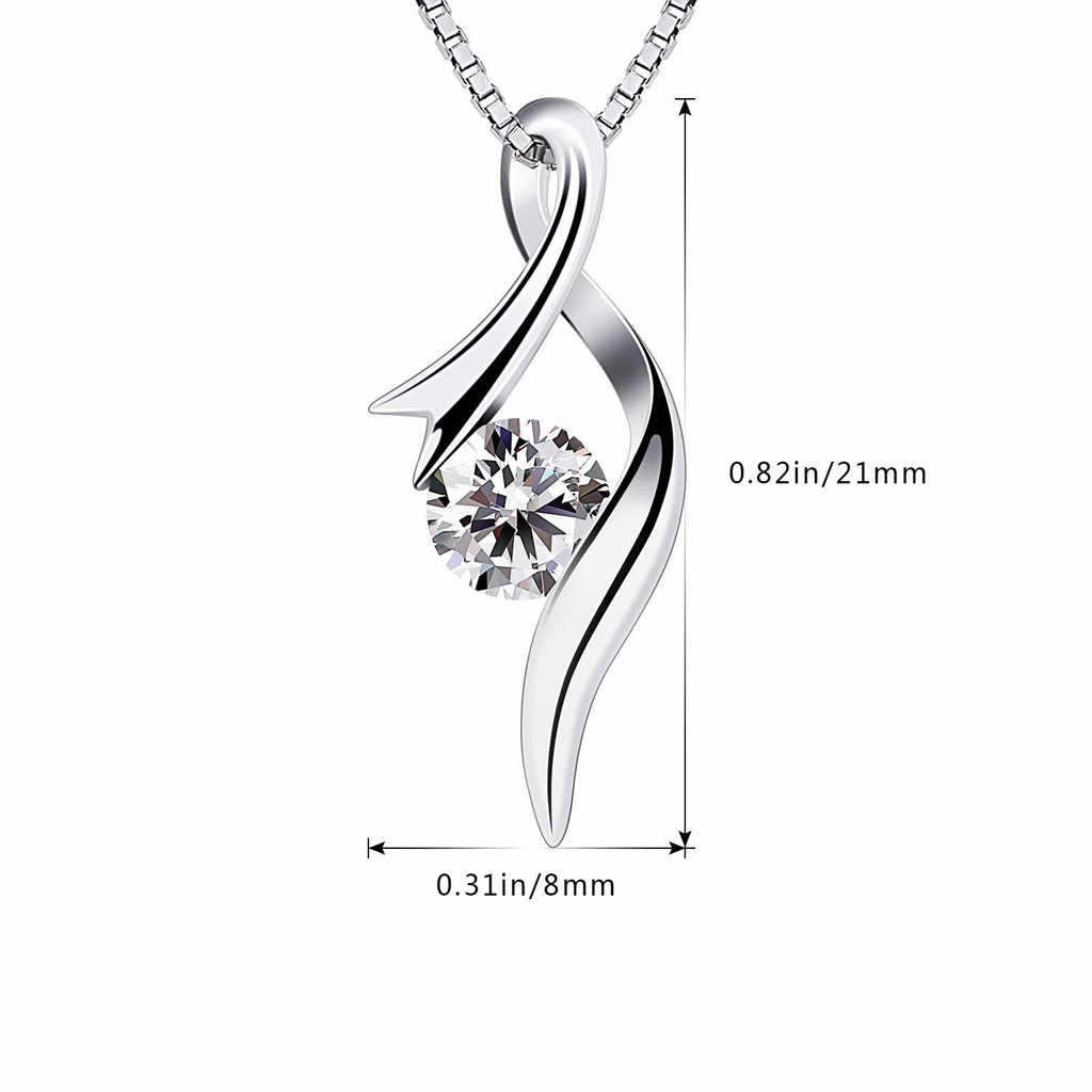 Partai Besar Perhiasan Perak Kalung Square Liontin Cubic Zirconia CZ Rantai Wanita Gadis Musim Panas Perhiasan