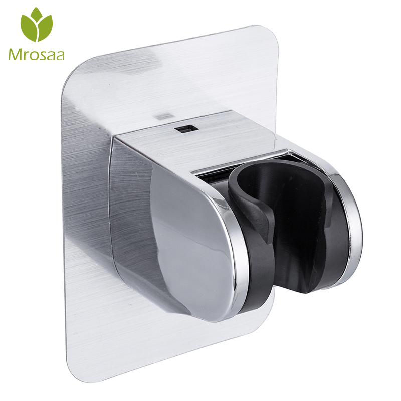 Mrosaa Wall Gel Mounted Shower Head Stand Bracket Holder Hand Held Bathroom Shower Head Fitting Portable Bathroom Accessories