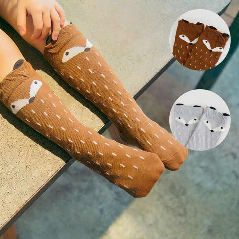 아기 양말 무릎 높은 긴 다리 따뜻하게 소년 소녀 어린이 양말 패션 만화 아기 양말 동물 인쇄 여우 긴 아이 양말