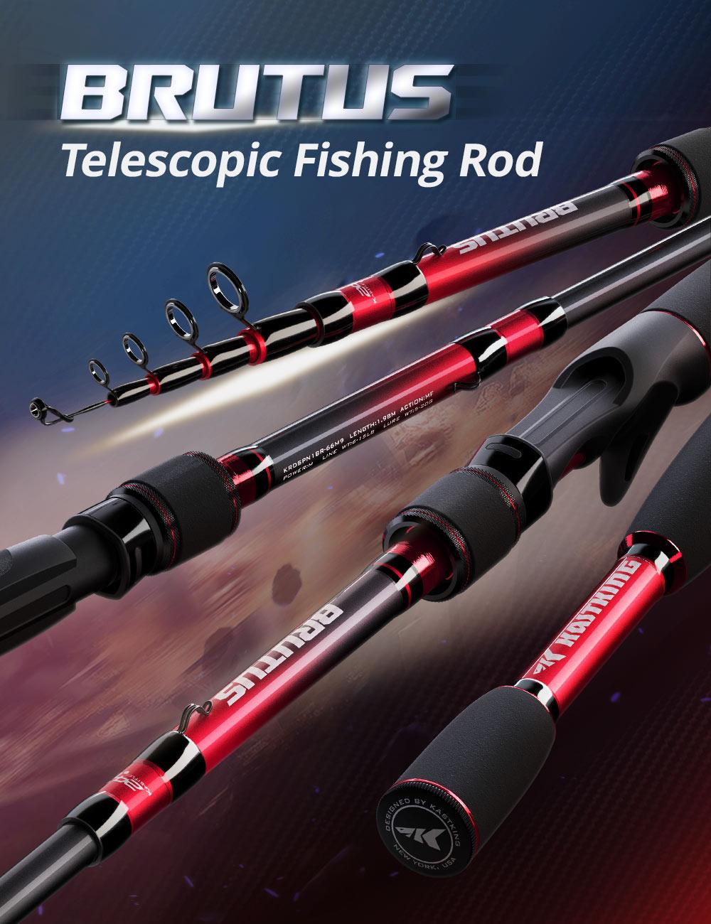 KastKing Brutus 1 Piece Telescopic Fishing Rod Spinning Casting Rod 1.98m 2.13m