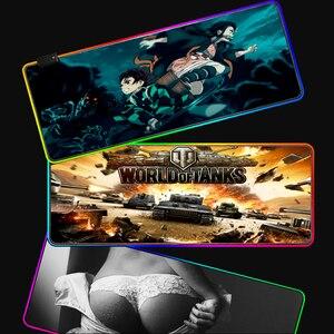 Image 5 - Yuzuoan XXL لوحة ماوس أنينية ناروتو USB LED اللون الإضاءة قفل حافة سميكة RGB ماوس الوسادة سرعة التحكم ألعاب حصيرة لوحة المفاتيح