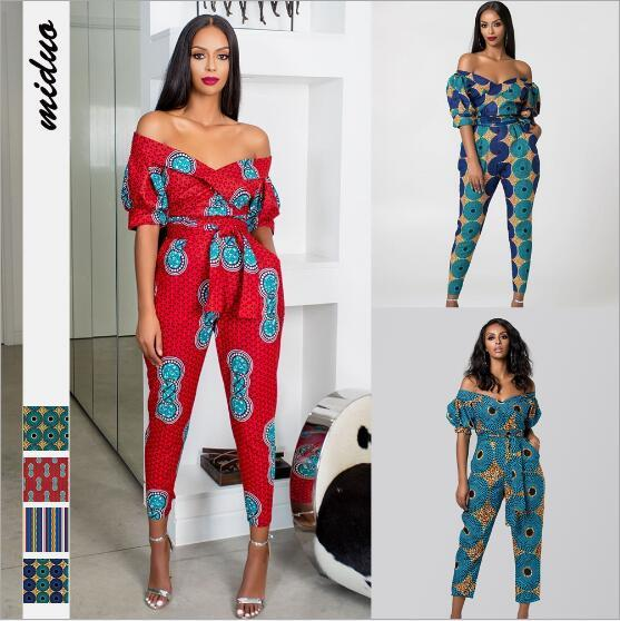 News African Clothes Print Ethnic Jumpsuits Shoulder Off Sexy Bodysuit Festival Skinny Pants Sweat Suits Outfit African Sets