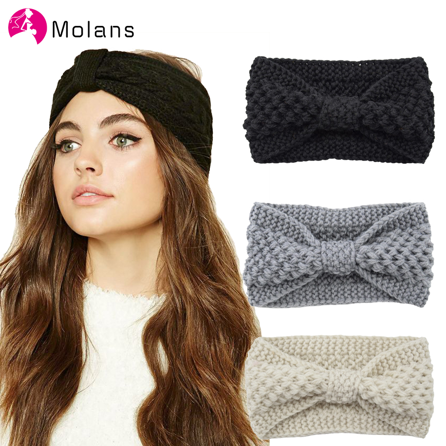 Molans Solid Bow Knitting Headbands Autumn Winter Handmade Knitted Braiding Hairbands For Women Stylish Knot Female Headband