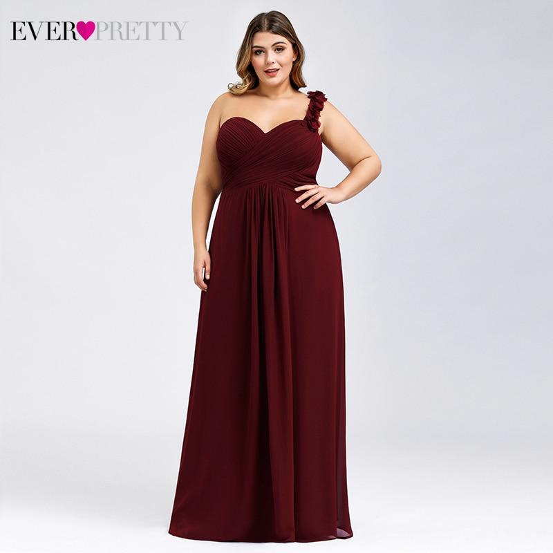 Elegant Bridesmaid Dresses Plus Size Ever Pretty Flower A-Line Sweetheart One Shoulder Ruched Chiffon Wedding Guest Dresses 2020
