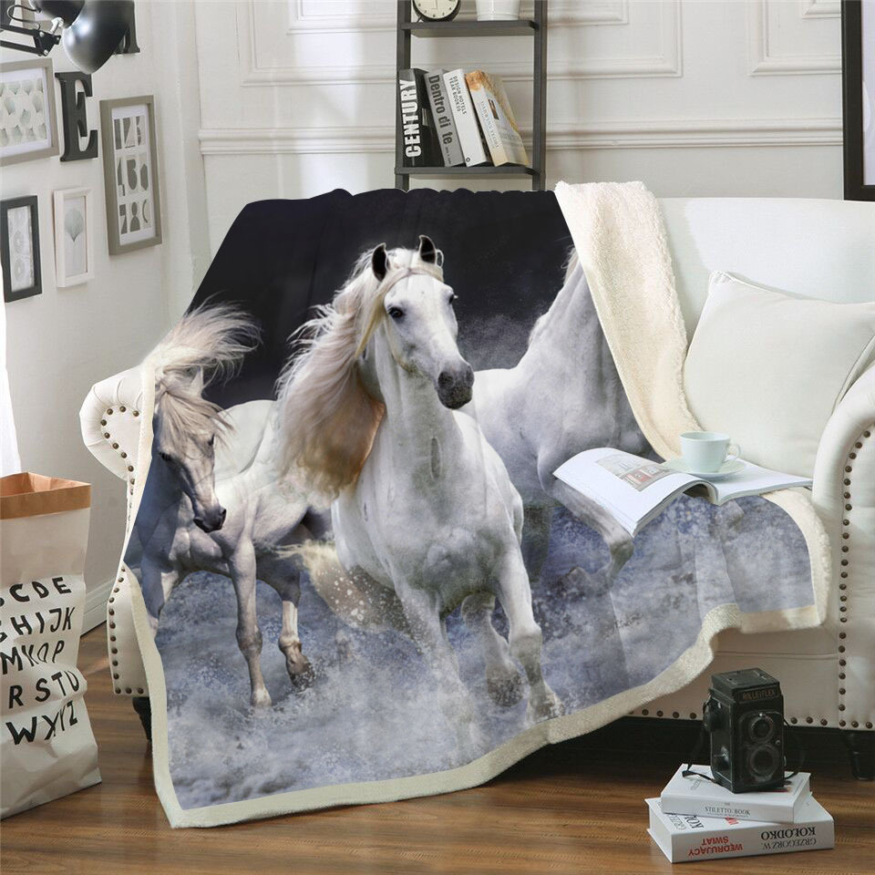 White Horses 3D Print Sherpa Blanket Couch Quilt Cover Travel Child Bedding Outlet Velvet Plush Throw Fleece Blanket Bedspread(China)