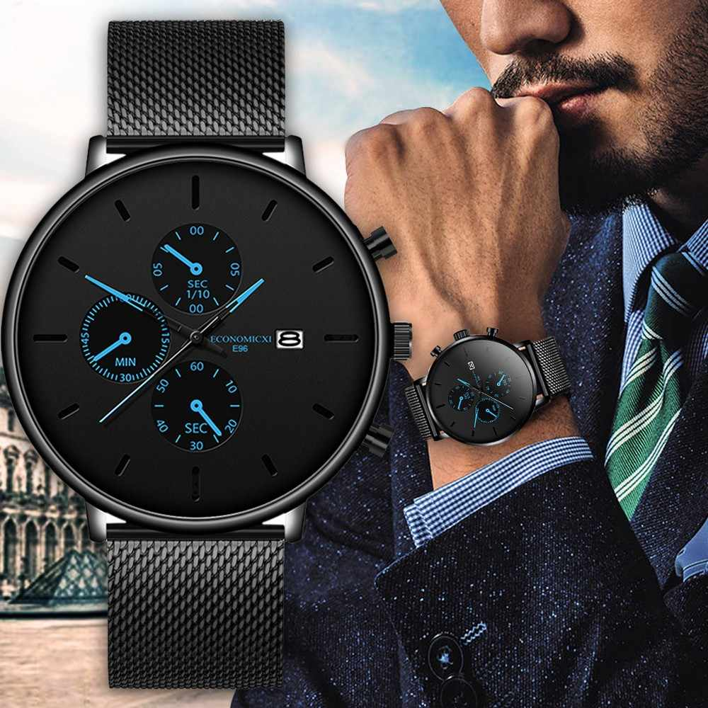 Economicxi Mens Jam Tangan Pria Luminous QUARTZ Watch Kasual Slim Jala Baja Tahan Air Olahraga Watch 2020 Hadiah Blaus Masculino #12