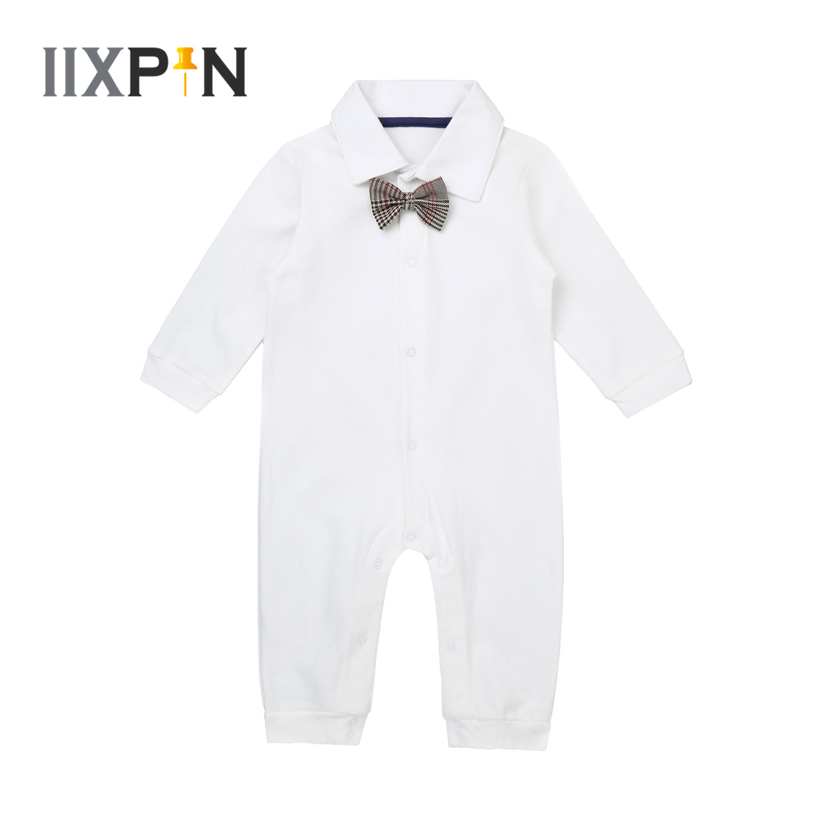 Toddler Baby Boys Romper Infant Rompers Cotton Long Sleeves Jumpsuit Bodysuit Gentlemen Christening Baptism Wear Baby's Clothing