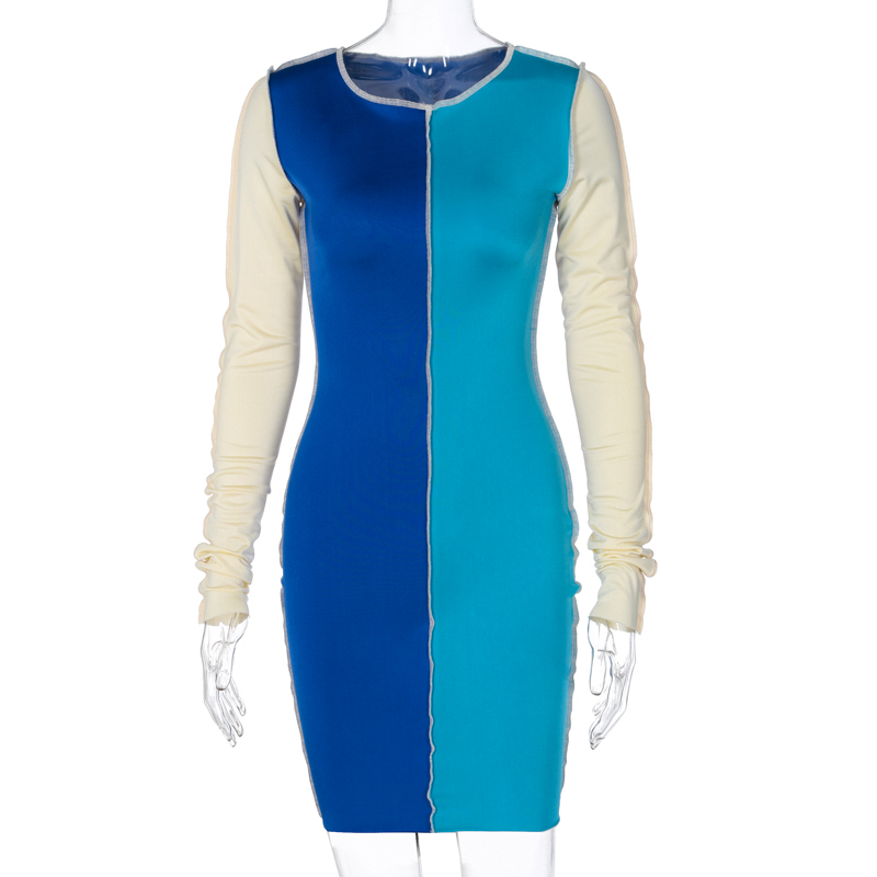Fashion Patchwork Bodycon Mini Dresses for Women Long Sleeve Skinny Clubwear Contrast Party Dress Vestidos De Mujer 8