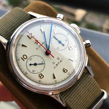 Mężczyźni 1963 Pilot zegarek chronograf akrylowe Dial Skeleton Back Cover St1901 ruch sił powietrznych mechaniczne zegarki męskie sapphire tanie tanio SEAKOSS 5Bar Klamra Limitowana edycja Mechaniczna Ręka Wiatr 22cm Ze stali nierdzewnej Stoper Chronograph Odporne na wodę