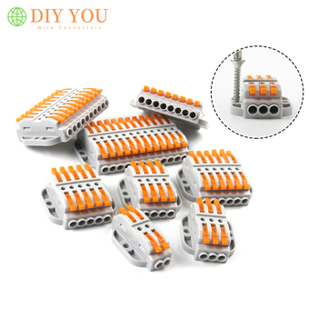 цена на 1PCS Electrical Wire Connectors 2/3/4/5/6/8/10/12pin fixed cable Wiring Connector push-in Universal Conductor Terminal Block SPL