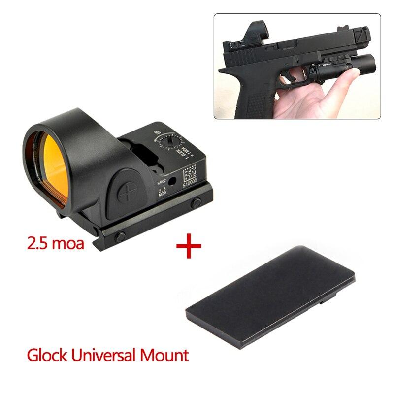 Mini RMR SRO Red Dot Scope Sight 2.5 Moa Sight Airsoft Hunting Reflex Sight With Universal Glock Mount Collimator Glock / Rifle