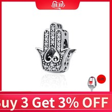 BISAER Hot Sale 100% 925 Sterling Silver Fatima Hamsa Hand Charm Beads Fit Original PAN Charm Bracelet DIY Jewelry GXC225(China)