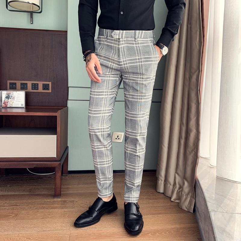 High Quality Men Formal Pants Fashion Streetwear Plaid Suit Pants Men Slim Fit Casual Gentlemen Office Trousers Men All Match 34