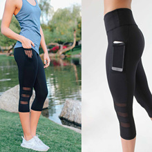 Mesh Women Yoga Leggings with Pocket Push Up High Waist Gym Sport Fitness Workout Trousers Jogging Female Stretchy Fitness Pants