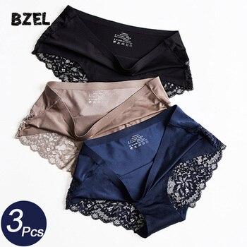 BZEL 3Pcs/lot Sexy Women Hollow Out Pantes Set Underwear Seamless Lace Briefs Low Waist Female Sport Panty Comfort Lady Lingerie