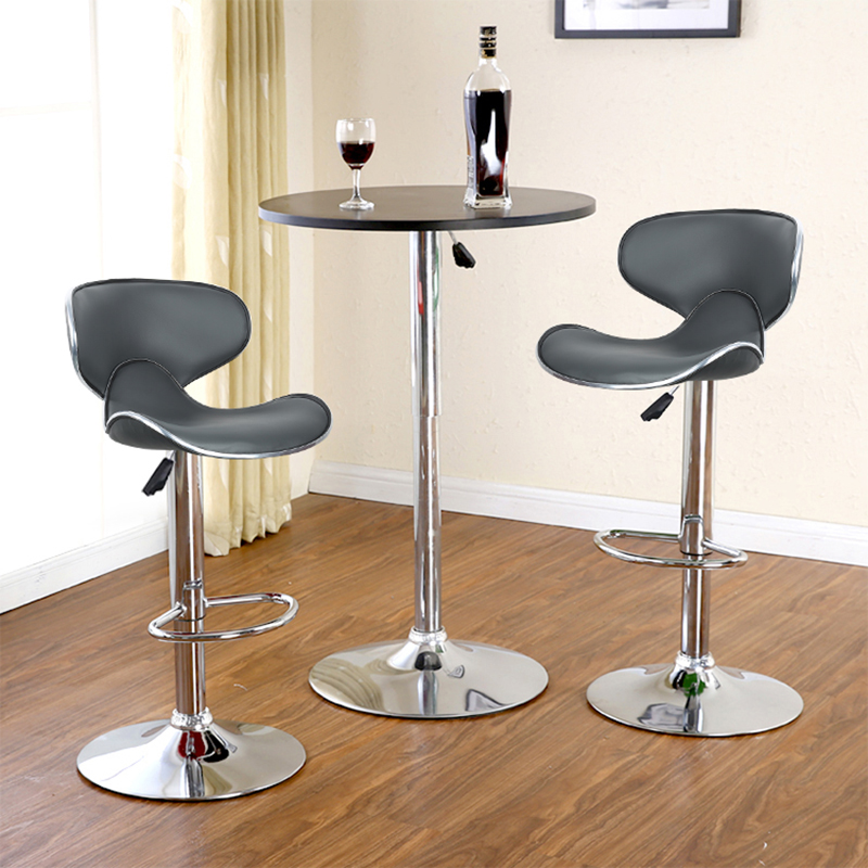 1 Pair Quality Artificial PU Leather Butterfly Backrest Chair Modern Bar Stool Height Adjusted Kitchen Bar Supplies Taburete HWC
