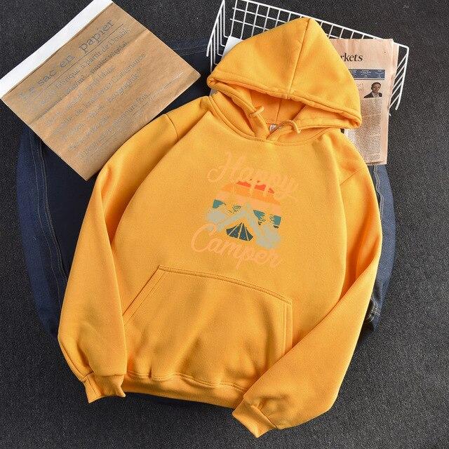 2020 Autumn Winter Hoodies Woman Long Sleeve Sweatshirt Female Hooded Hoody Fleece Happy Camper Woman Hoodies 5