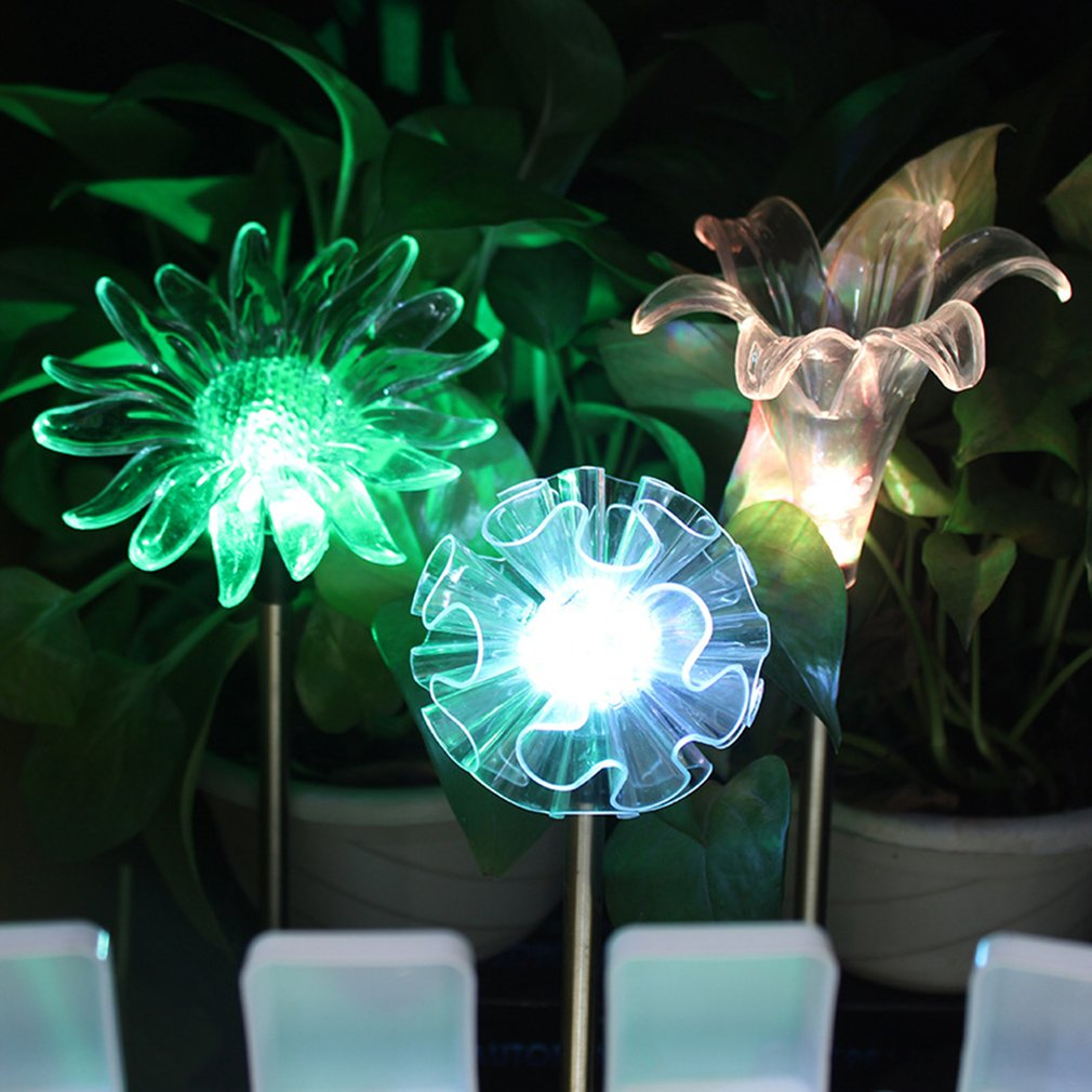 Us 5 35 24 Off Garden Solar Lights Outdoor Multi Color Changing Decorative Landscape Light Led Hummingbird Erfly Dragonfly Flower 3 Product In