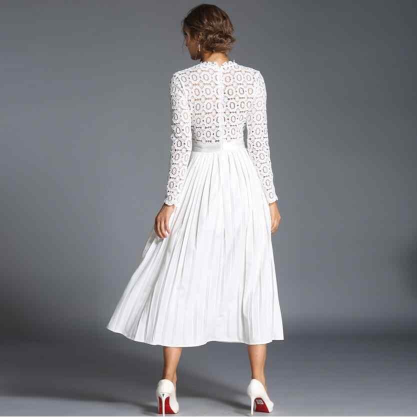 2020 נשים שמלת תחרה שמלת פרחוני נשף שמלות צווארון עומד סקסי אלגנטי גבירותיי ערב מסיבת שמלות נקבה vestidos AW681