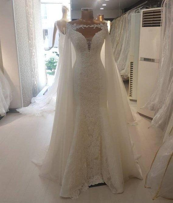 Off Shoulder Lace Applique Bridal Cloaks Capes Floor Length White Ivory Wedding Wraps Jackets Long Women Jackets Boleros