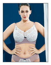 Plus Size Bras For Women Full Coverage Non-Padded Sports yoga Soft Cups Lace Up Embroidery Minimizer Sexy Underwear Markdown