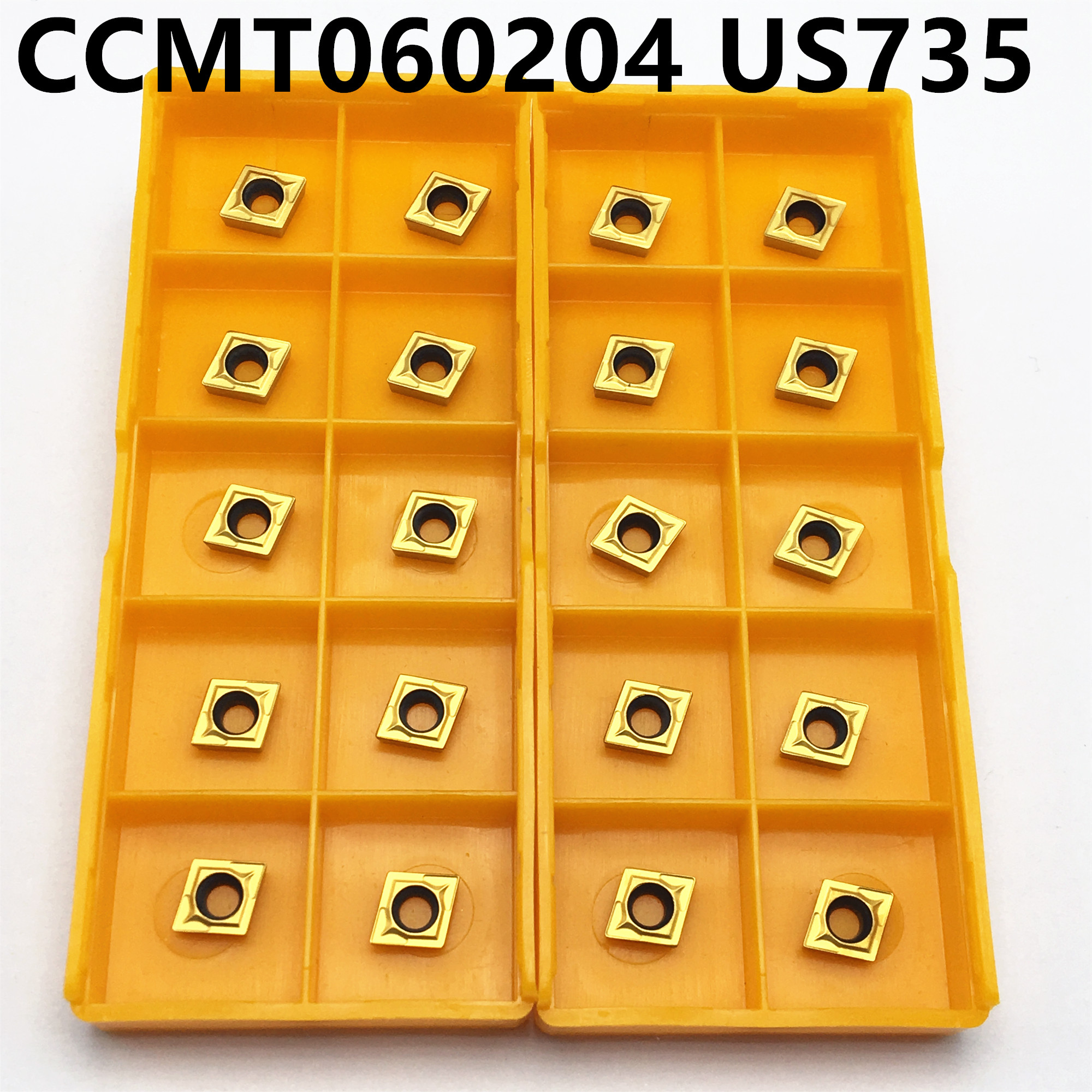 10PCS CCMT060204 US735 Carbide Inserts Internal Round Car Cutter CCMT 060204 End Milling Tool CNC