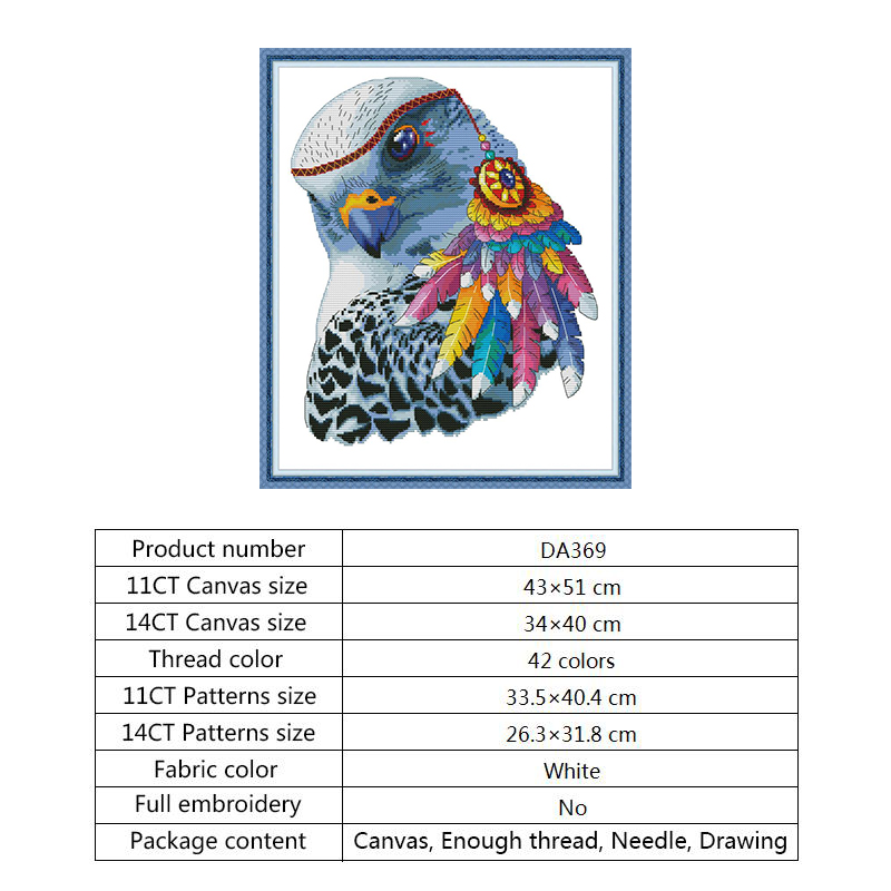 Counted Cross Stitch Needlework Kits Rainbow Eagle DIY Hand Crafts Printed Aida Fabric Water soluble Canvas for Embroidery Kit