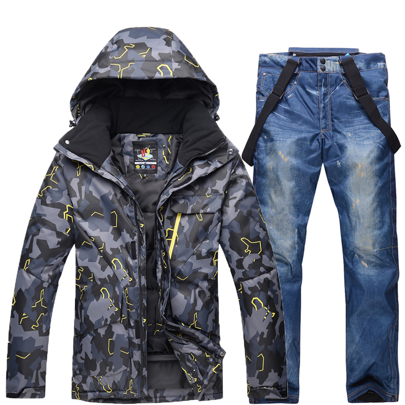 New Winter Men Camouflage Ski Suit Warm Windproof Waterproof Skiing Suits Male Outdoor Sport Snowboarding Set Ski Jacket + Pants