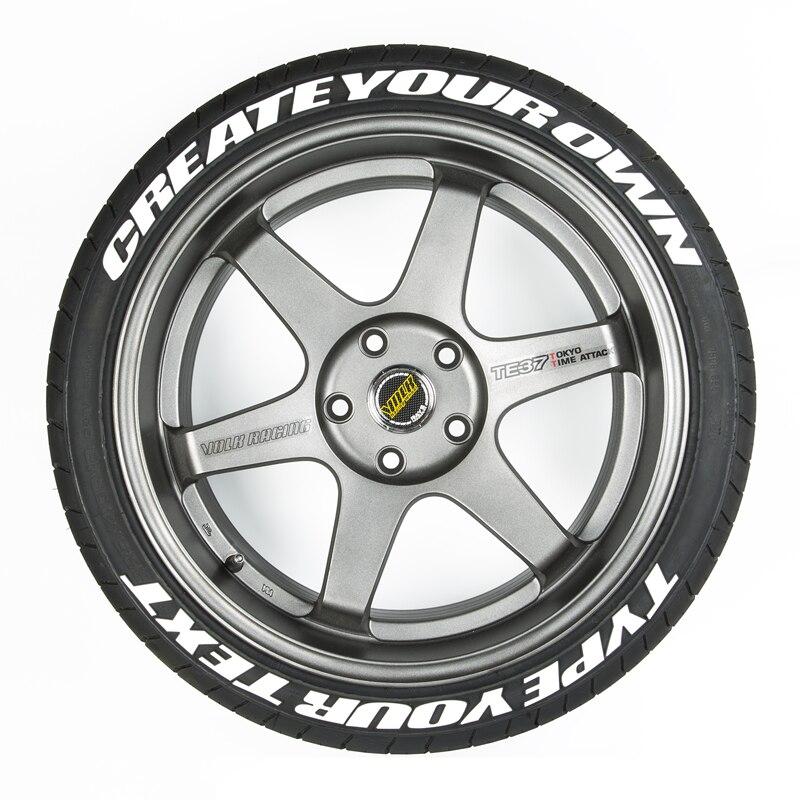 SKYEO niestandardowe naklejki na opony 1/0.75 cala wysokość naklejki kalkomanie samochodowe 3D Logo etykiety Auto motocykl DIY etykiety litery