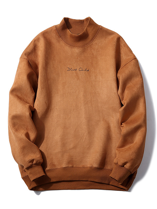 ZAFUL Hoodies Sweatshirts Men Chest Letter Print Solid Color Suede Pullovers Oversized Hoodies Turtleneck Male Clothing
