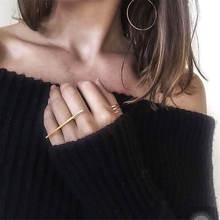 Геометрический особый простой ins металлические кольца для женщин