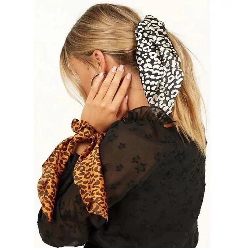 Fashion Women Leopard Print Scrunchie Hair Scarf Elastic Hair Bands Bow Ponytail Rubber Ropes Girls Hair Ties Hair Accessories