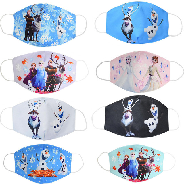 Elsa Snow Queen Children Kid Cartoon Cute PM2.5 Anti-Dust Mouth Face Mask Reusable Washable Dust Proof Soft Face Mask Breathable