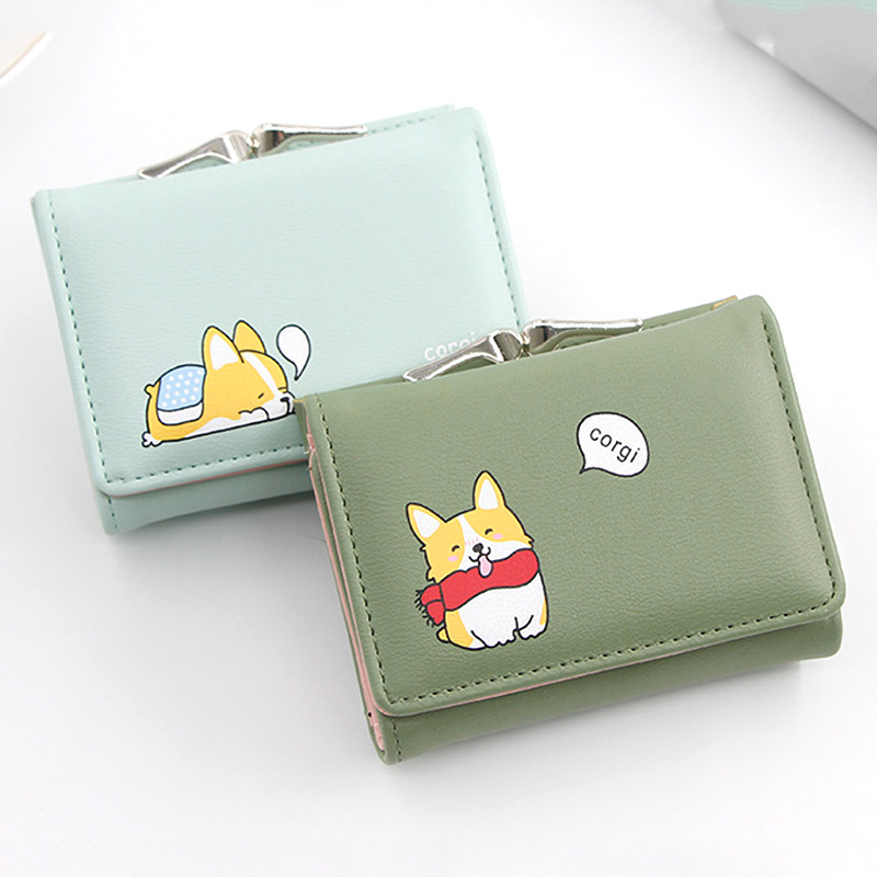 Women Wallets Cartoon Cute Corgi Doge Design Mini Card Holder Ladies PU Leather Female Short Money Purses With Coin Pocket