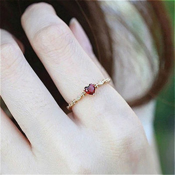 Fashion Red Heart Rings for Women White Gold/Rose Gold/White Gold Color Engagement Ring Bridal Wedding Jewelry Gift Dropshipping
