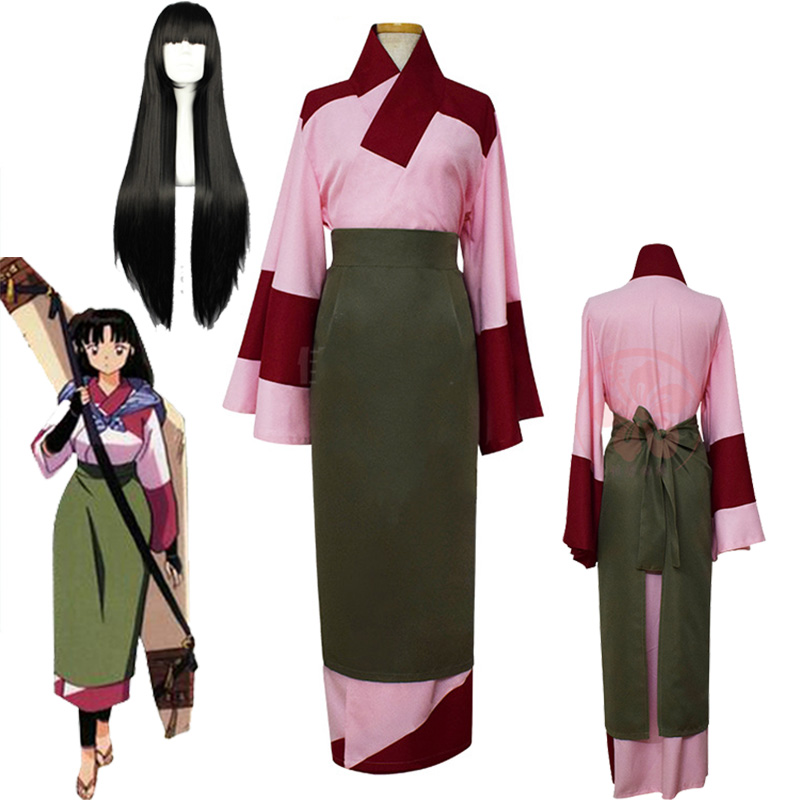 Anime InuYasha Sango Kimono Cosplay Costume Women Girls Japanese InuYasha Sango Kimon COS Clothing