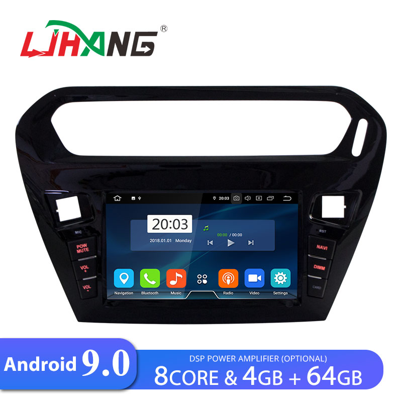 LJHANG 4G+64G Android 9.0 Car Radio <font><b>GPS</b></font> <font><b>For</b></font> <font><b>Peugeot</b></font> <font><b>301</b></font> Citroen Elysee 2014-2016 WIFI Multimedia Stereo Headunit Automotive IPS image