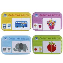 32PCS Flash Cards Learning Alphabet Jigsaw Matching Puzzle Early Developmental Toys with Mental Case (4 Packs)