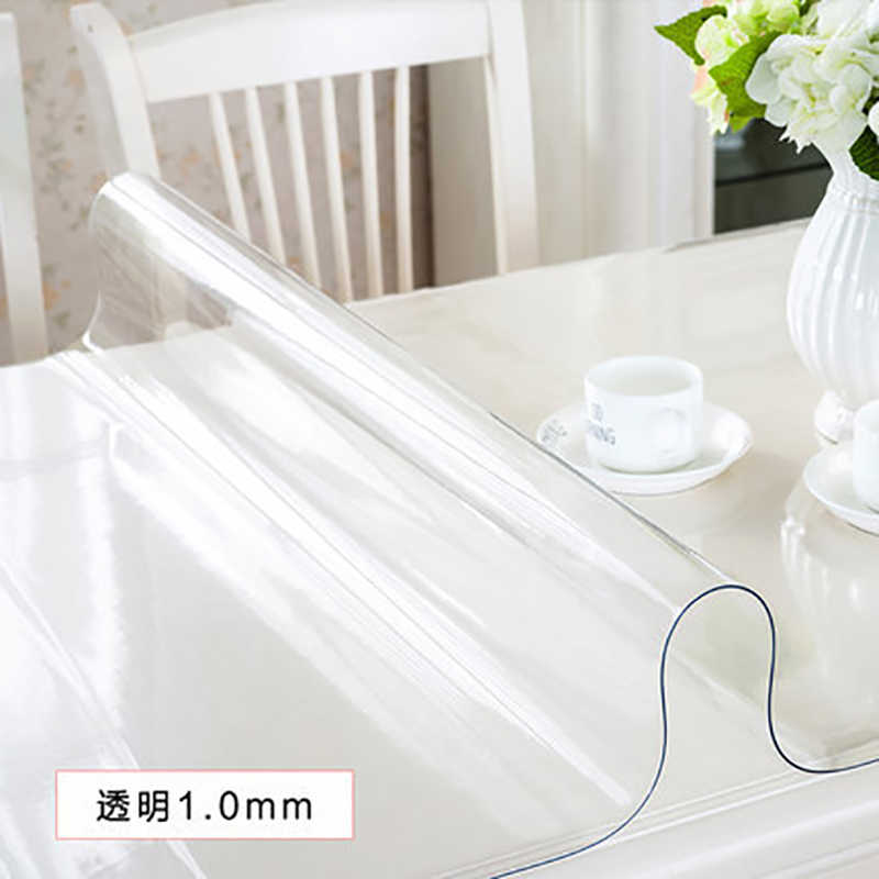 Mantel vidrio suave transparencia PVC mantel de mesa a prueba de agua a prueba de aceite cocina mesa de comedor cubierta para mesa rectangular 1,0mm