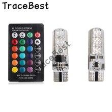 2 قطعة T10 W5W LED مصباح ليد للسيارة لمبات RGB مع جهاز التحكم عن بعد 194 168 501 ستروب LED مصباح مصابيح للقراءة أبيض كهرمان أحمر أزرق